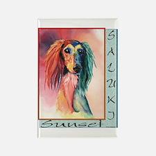 Saluki Sunset Designer Rectangle Magnet (10 pack)