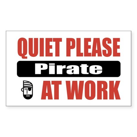Pirate Work Rectangle Sticker
