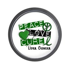 PEACE LOVE CURE LIVER CANCER L1 Wall Clock