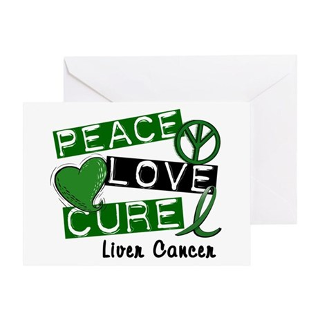 PEACE LOVE CURE LIVER CANCER L1 Greeting Card