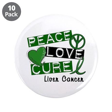 "PEACE LOVE CURE LIVER CANCER L1 3.5"" Button (10 pa"