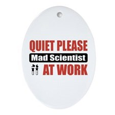 Mad Scientist Work Oval Ornament