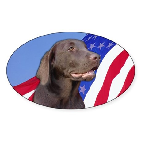 American Chocolate Lab Oval Sticker