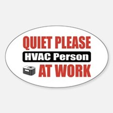 HVAC Person Work Oval Decal