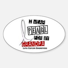 I Wear Pearl For My Grandpa 37 Oval Decal