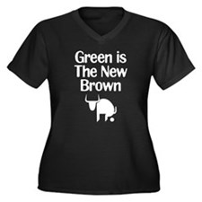 Green is The New Brown Women's Plus Size V-Neck Da