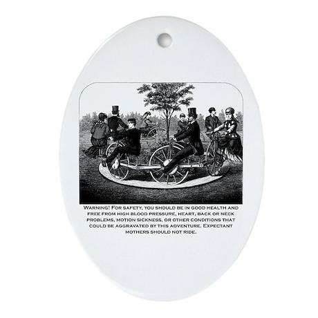 Roller Coaster Warning Oval Ornament