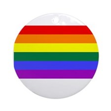 Gay Pride Rainbow Flag T-Shir Ornament (Round)