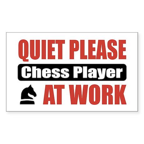 Chess Player Work Rectangle Sticker