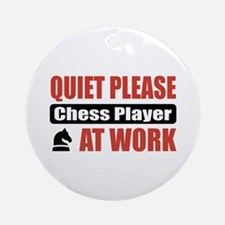 Chess Player Work Ornament (Round)
