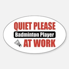 Badminton Player Work Oval Decal