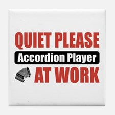 Accordion Player Work Tile Coaster