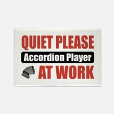 Accordion Player Work Rectangle Magnet
