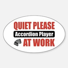 Accordion Player Work Oval Decal