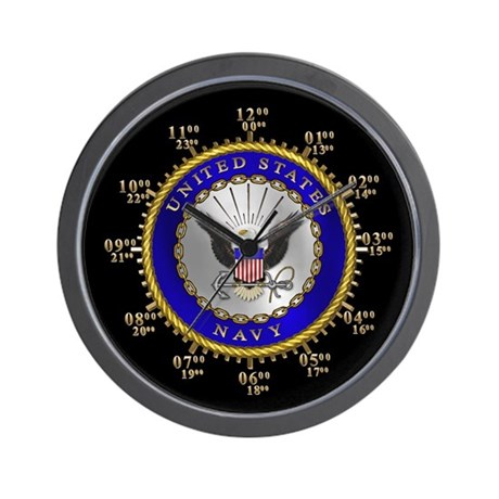 Navy Military Time Wall Clock
