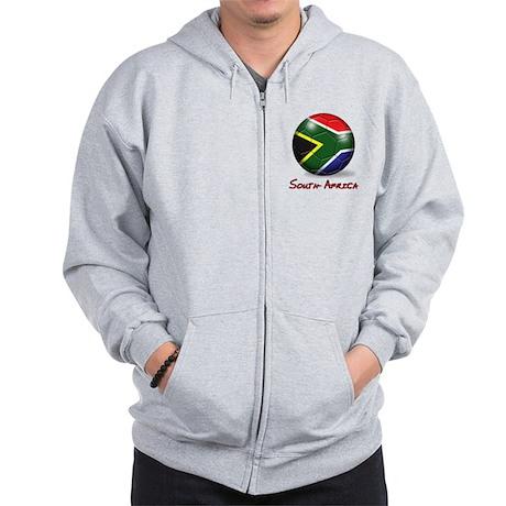 South Africa Flag Soccer Ball Zip Hoodie