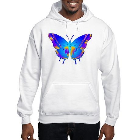 Blue Butterfly Hooded Sweatshirt