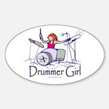 Drummer Girl Oval Decal
