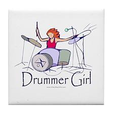 Drummer Girl Tile Coaster