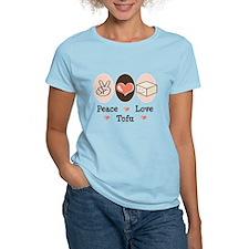 Cute Peace Love Tofu Women's Pink T-Shirt