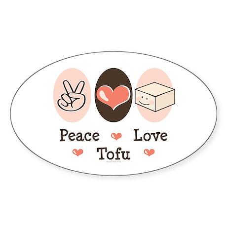 Cute Peace Love Tofu Oval Sticker