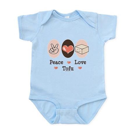 Cute Peace Love Tofu Pink Infant Creeper