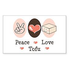 Cute Peace Love Tofu Rectangle Decal