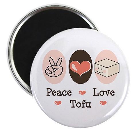 """Cute Peace Love Tofu 2.25"""" Magnet (100 pack)"""