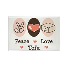 Cute Peace Love Tofu Rectangle Magnet