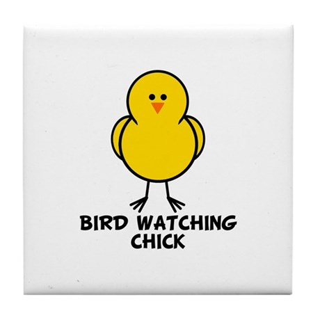 Bird Watching Chick Tile Coaster