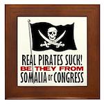 Real Pirates Suck Framed Tile