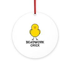 Beadwork Chick Ornament (Round)