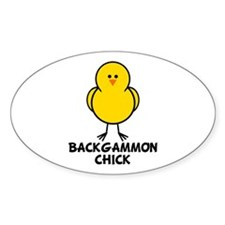 Backgammon Chick Oval Decal