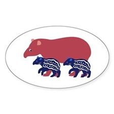 Tapir Family B Oval Decal