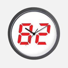 82 eighty-two red alarm clock Wall Clock