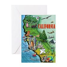 Funny California cartoon map Greeting Card