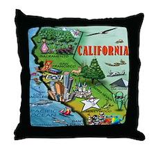 Unique California cartoon map Throw Pillow