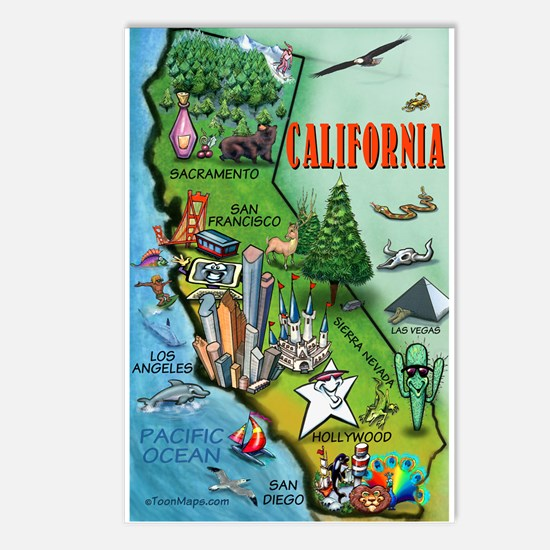 Unique Californian Postcards (Package of 8)