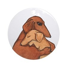 Weiner Dog and Puppy Ornament (Round)