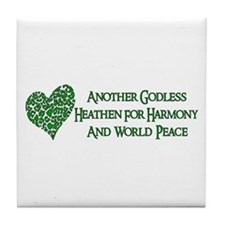 Godless For World Peace Tile Coaster