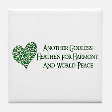 Godless For World Peace Tile Coaster