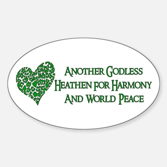 Godless For World Peace Oval Stickers
