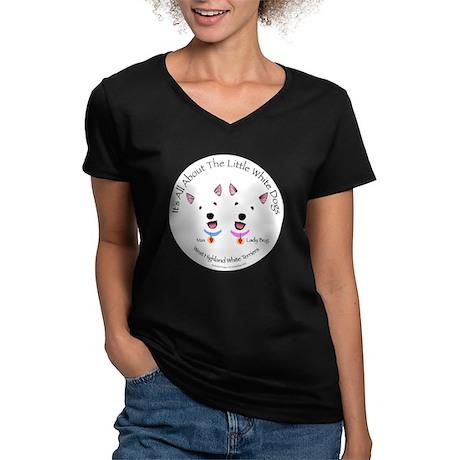 Custom - Max & Lady Bug Women's V-Neck Dark T-Shir
