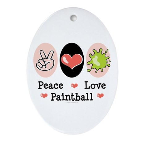 Peace Love Paintball Oval Ornament