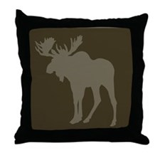 Chocolate Moose Rustic Throw Pillow