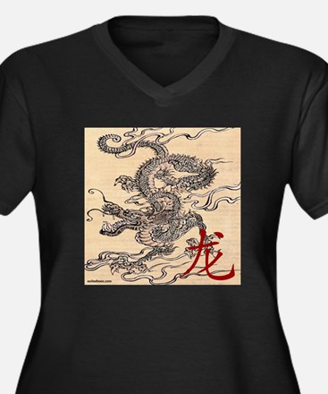 CHINESE DRAGON Women's Plus Size V-Neck Dark T-Shi