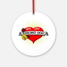 Eskimo Dog Heart Ornament (Round)