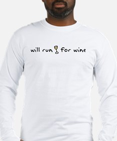Will run for wine Long Sleeve T-Shirt