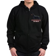Doberman Owners Don't Dial 91 Zip Hoodie (dark)