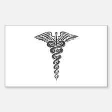 Vintage Caduceus Rectangle Decal